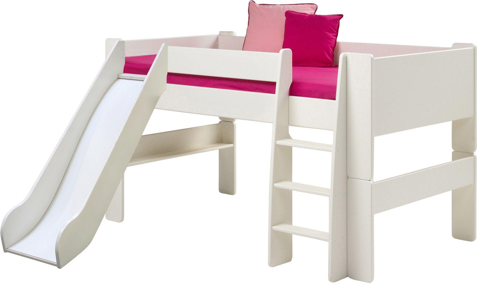 muffy halbhochbett mit rutsche in 4 farben etagen und hochbetten hochbett kinder rutsche. Black Bedroom Furniture Sets. Home Design Ideas