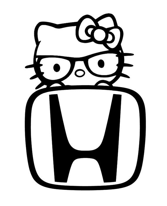 Hello Kitty Decal Hello Kitty Nerd Peeking HONDA Decal By RIVinyl - Hello kitty custom vinyl decals for car