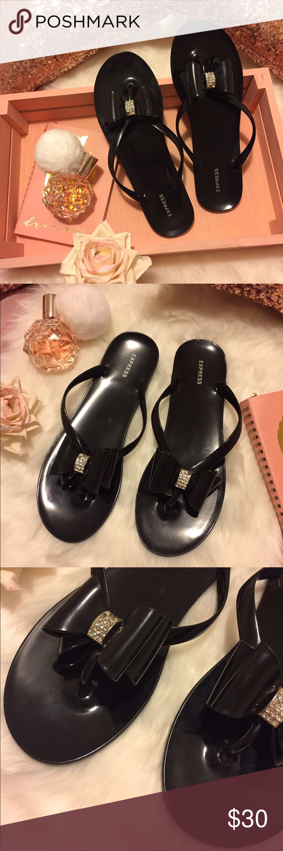 b257597507b1ea Express Jelly Bow Sandals Excellent condition. Measures 10  in from toe to  heel. Express Shoes Flats   Loafers