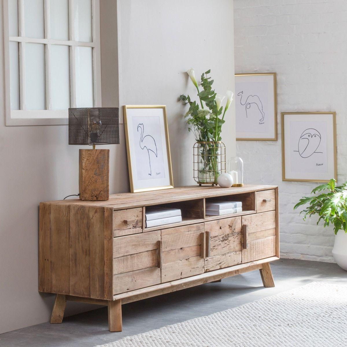 Meuble Tv Style Brut Bois Recycle 4 Portes 180cm Mobilier De Salon Lampe A Poser Bois Decoration Maison