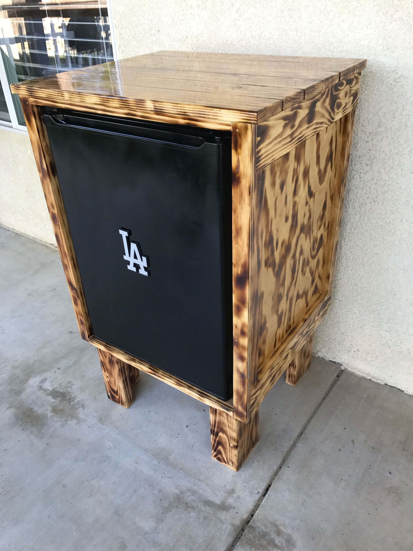 Glossy Burnt Wood Mini Fridge Cabinet Outdoor Fridge Cabinet