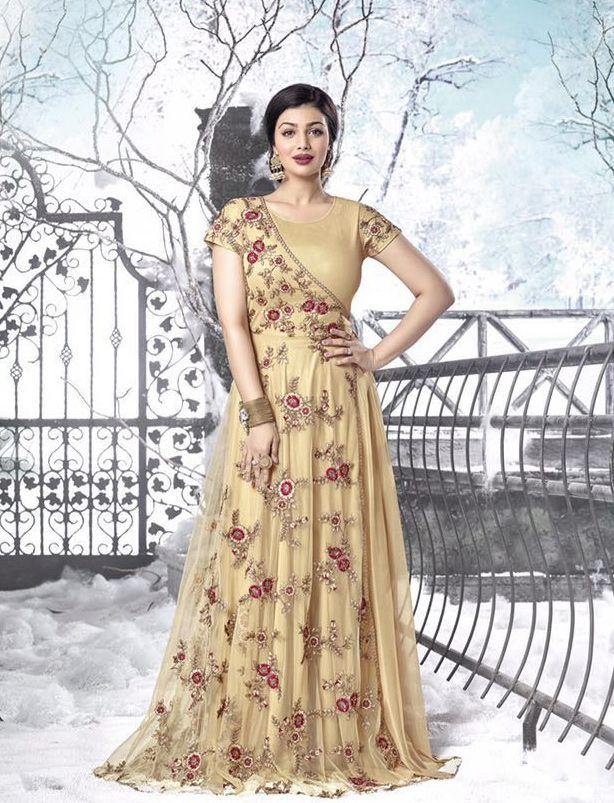 Ayesha Takia In Beige Georgette Anarkali Suit Nikvik Usa Designer Australia Canada Freeshipping Fashion D Fashion Designer Dresses Online Dresses