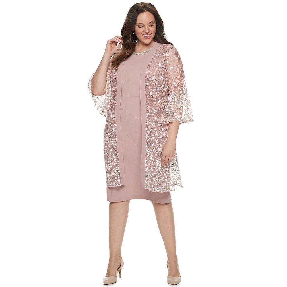 91a64e8c384 Plus Size Maya Brooke Lace Duster   Shift Dress Set