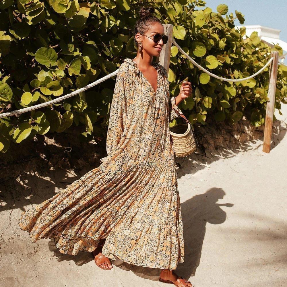 Pilody Elegant Printed Long Sleeve Maxi Vocation Dress Boho Print Dress Printed Maxi Dress Boho Maxi Dress [ 1000 x 1000 Pixel ]