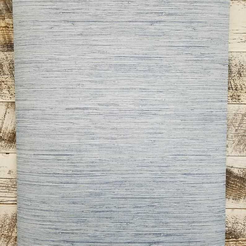 Farmhouse Cottage Coastal Blue Faux Grasscloth York Peel And Etsy In 2021 Grasscloth Grasscloth Wallpaper Grey Grasscloth Wallpaper