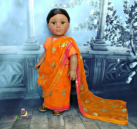 285ad127c33 Doll Sari Saree Indian Outfit or Bollywood Costume In Orange ...