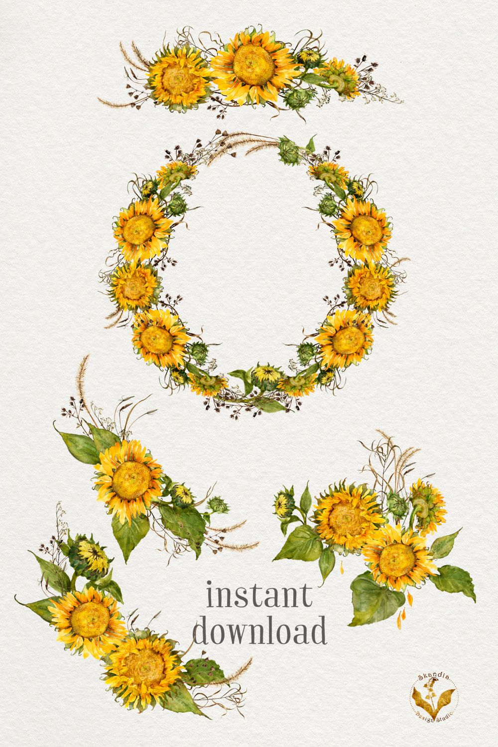Watercolor Sunflowers Sunflower Clipart Watercolor Flowers