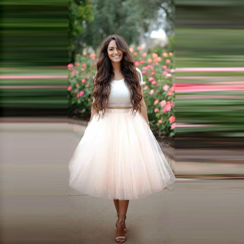 Moda-Champagne-falda-corta-de-Color-sólido-elástico-medio-corto-vestido-de-bola-de-Tulle-faldas.jpg (800×800)