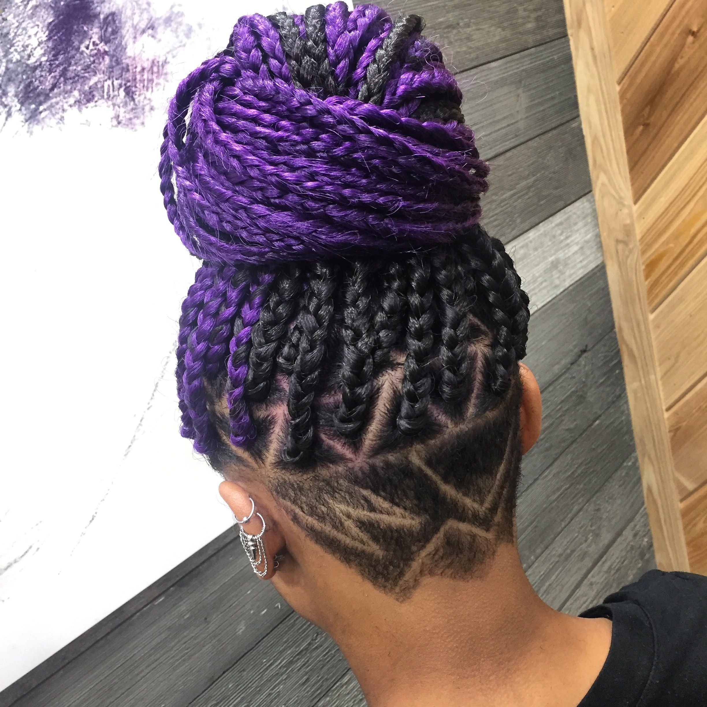 Purple Box Braids With Undercut Design Follow My Ig Neworleansstylistrella Purple Box Braids Box Braids Styling Braids With Shaved Sides