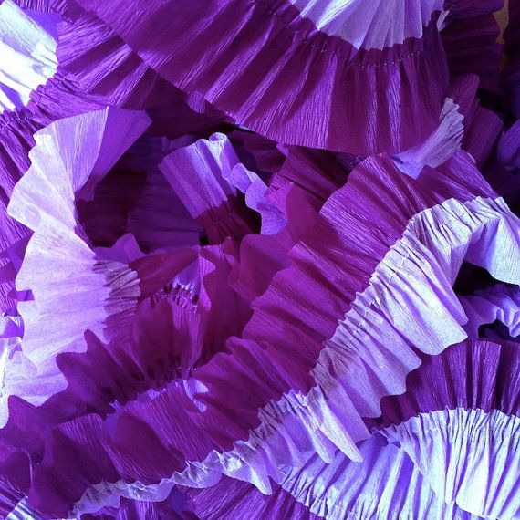 Purple and Lavender Ruffled Crepe Paper Streamers - Party Decoration - Craft and Party Supplies