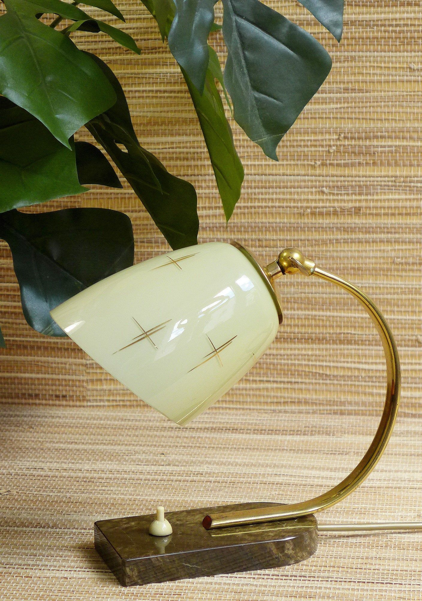Vintage Bedside Lamp 1950s Table Night Light Mid Century Mcm 1940s 1950s 1960s Desktop Lamp Rockabilly Brass Glass Tiki Marble Bedside Lamp Desktop Lamp Bedside
