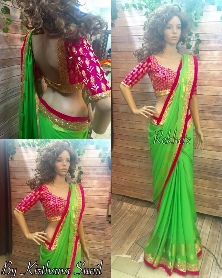 4a2bb5ccb52ba8 Green georgette weaved banaras border Saree with contrast hot pink  embroidered blouse with antic sequin highlights. 01 July 2016