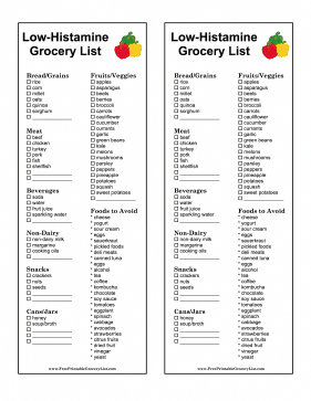 There Are Foods For People On A Low Histamine Diet In This Printable Grocery List As Well As Foods In 2021 Low Histamine Diet Low Histamine Foods Anti Histamine Foods