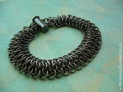 """Браслет """"Рептилия"""" - чёрный,унисекс,unisex,кольчужное плетение,chainmail"""