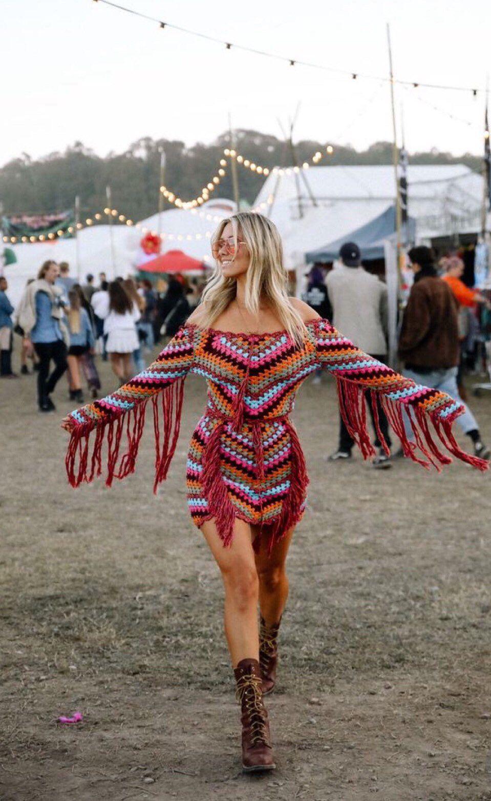 Crochet Fringed Top and Skirt, Boho Hippie Gypsy ,