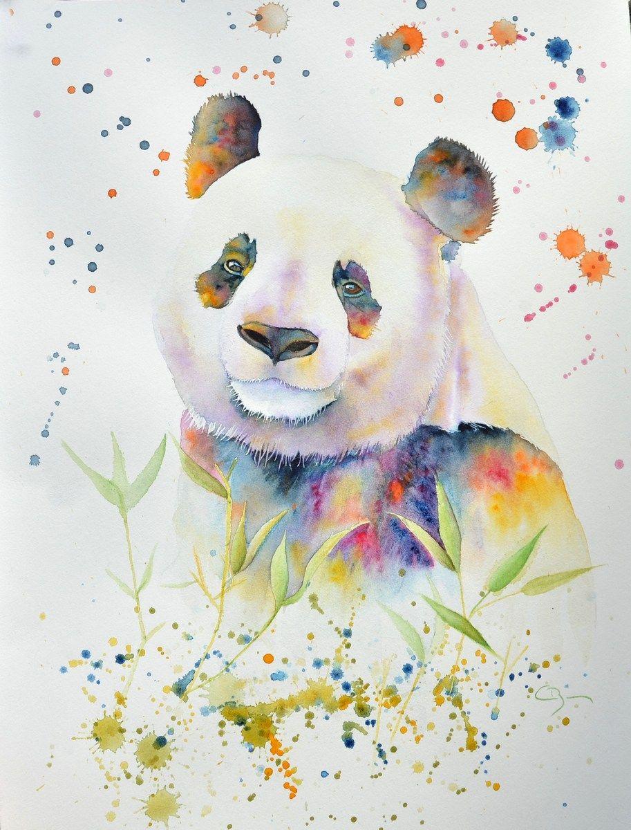 Panda A L Aquarelle Art De Panda Animaux D Aquarelle Dessin Pastel