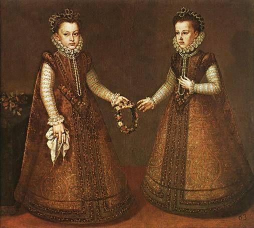 Infantas Isabella Clara Eugenia and Catherine Michelle,  ca. 1571  (Alonso Sanchez Coello) (1531-1588) Museo Nacional del Prado, Madrid.