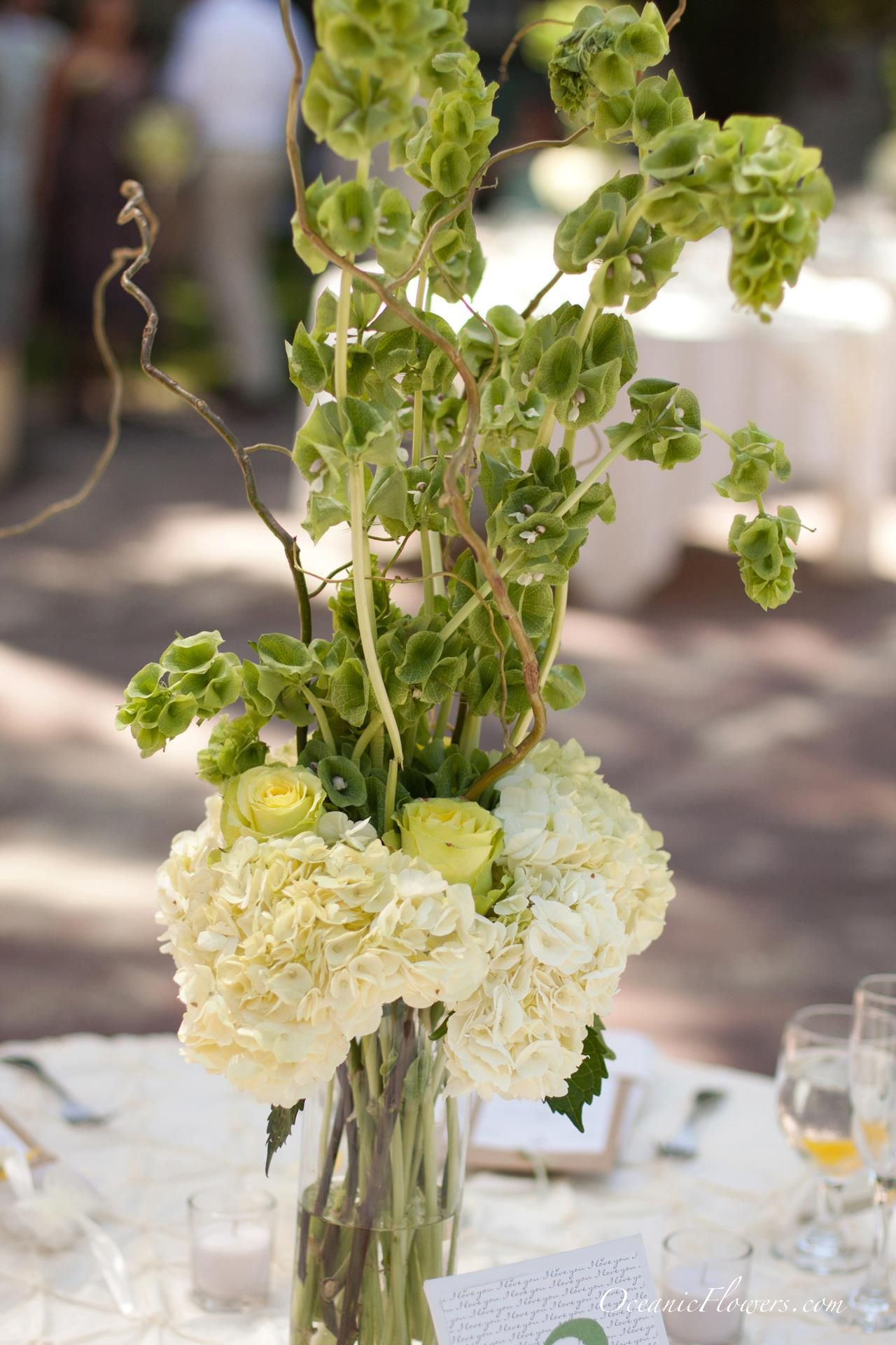 White Green And Yellow Large Centerpiece Centerpieces Flowers Private Wedding