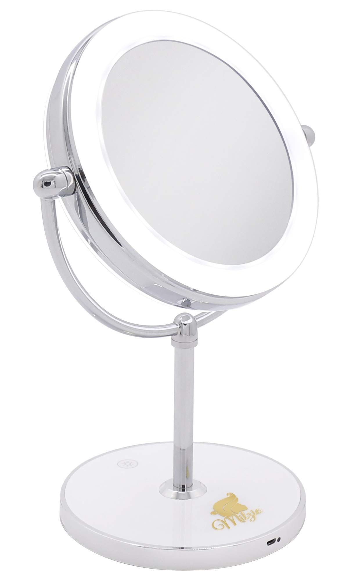 Milzie Portable Double Sided Van Makeup Mirror With Lights Makeup Mirror White Led Lights