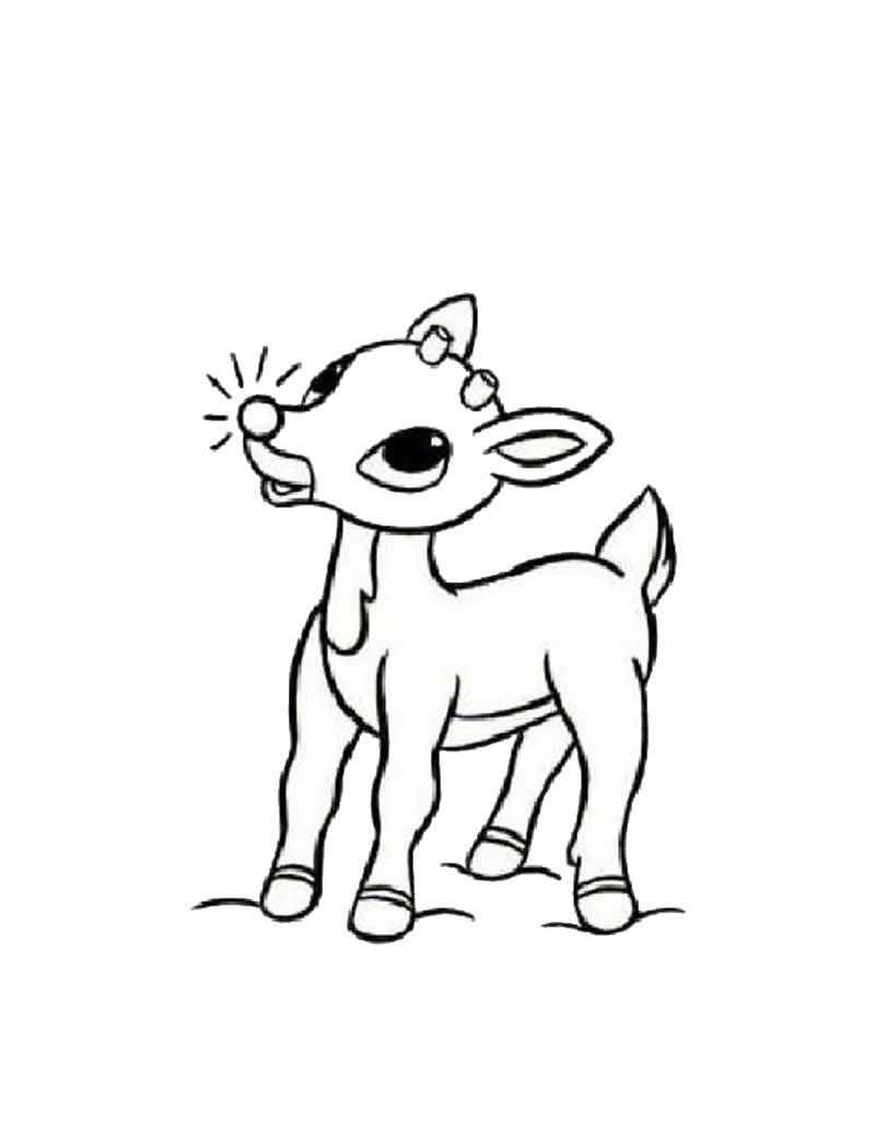 Rudolph the red-nosed reindeer coloring page | kids craft ideas ...