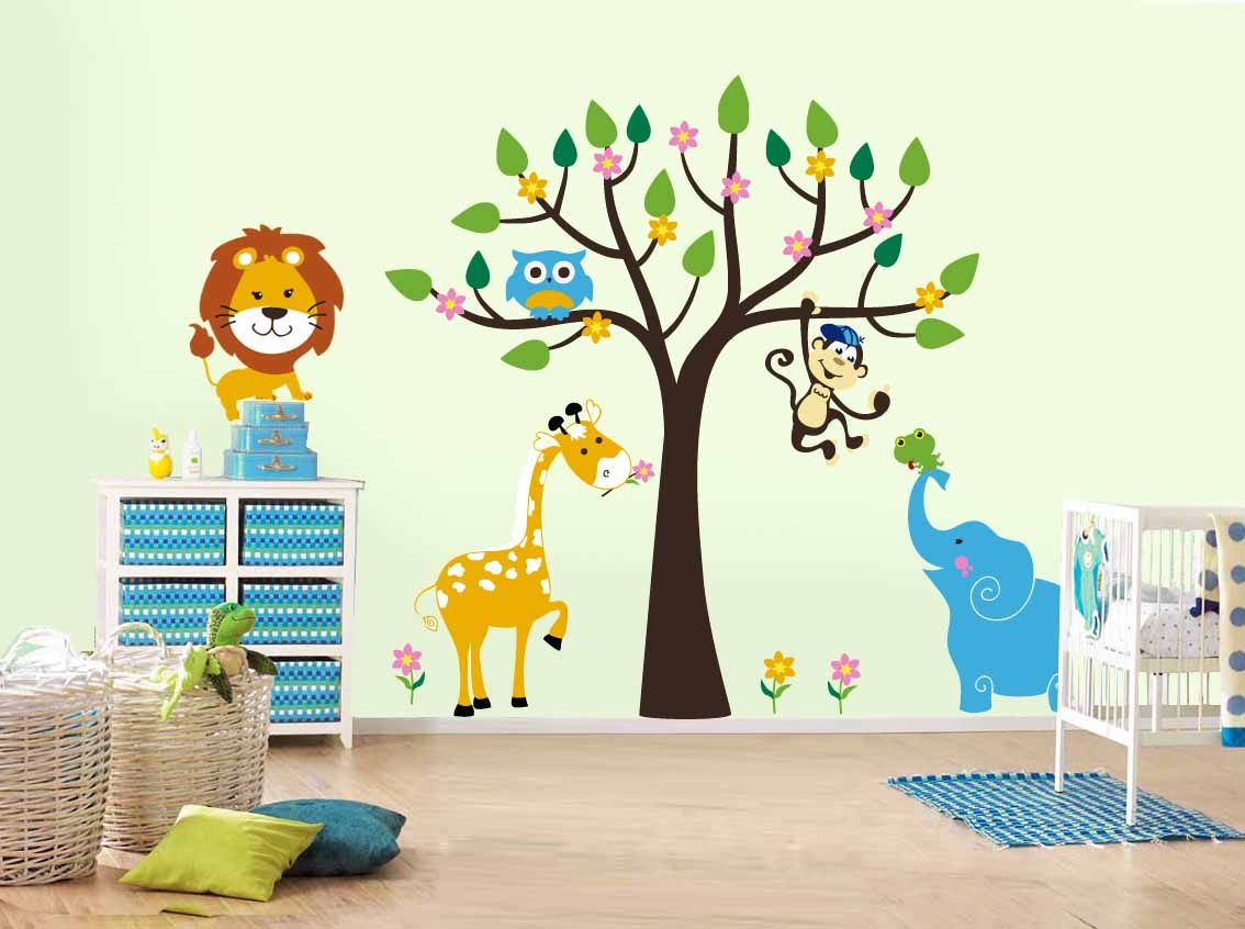 White Themed Amazing Kids Wall Decor Ideas With Beautiful Tree Wall Decals  Complete With The Leaf That Have Monkey Sticker Also Cool Blue Elephant Wall  ... Part 37