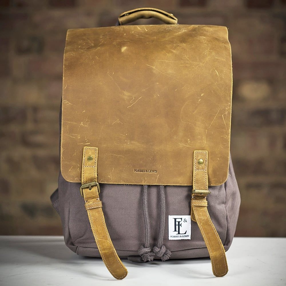 0796f6625e2 Forbes & Lewis Devon Canvas Backpack (Grey / Brown) (Limited Stock ...