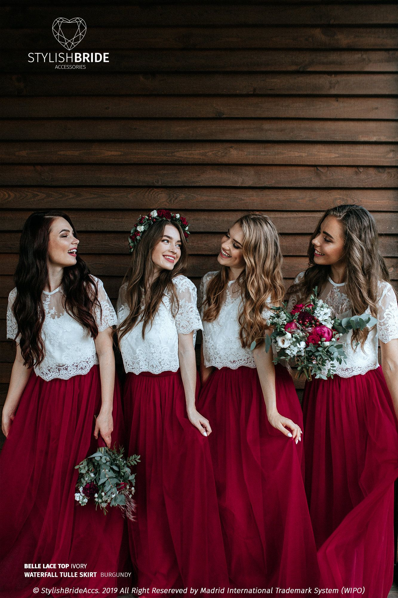 Burgundy Bridesmaids Separates Waterfall Tulle Skirt And Belle Lace Top With Silk Under Top Availabl Bridesmaid Skirts Bridesmaid Separates Bridesmaid Dresses
