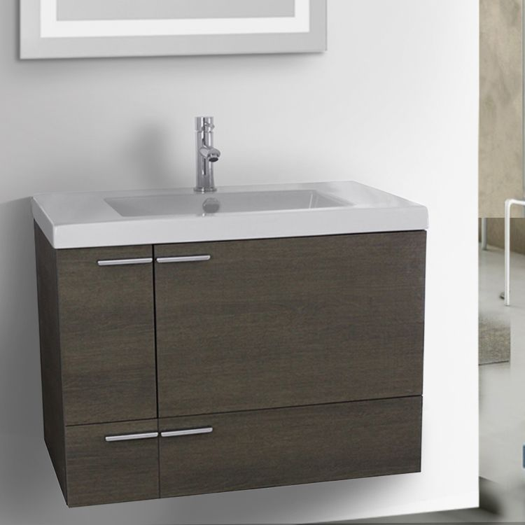 31 Inch Vanity Cabinet With Fitted Sink With Images Oak