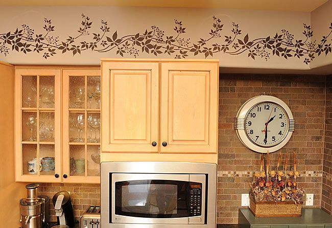 Cutting Edge Stencils  Kitchen Border Uses The Virginia Creeper Pleasing Kitchen Stencil Designs Decorating Inspiration