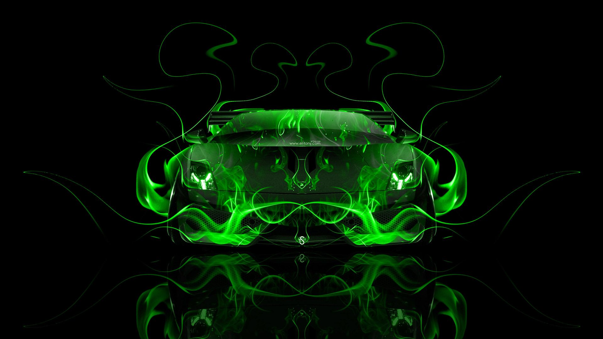 Superbe Lamborghini Gallardo Front Green Fire Abstract Car 2014
