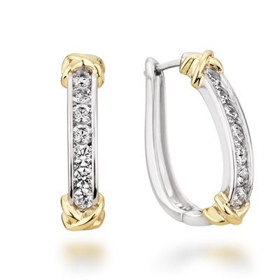 T W Diamond Channel Hoop Earrings In 10k Two Tone Gold