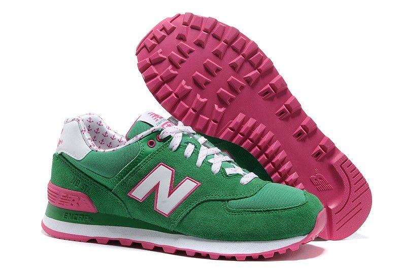 New Balance 574 wl574ykg green/white/red woman-shoes