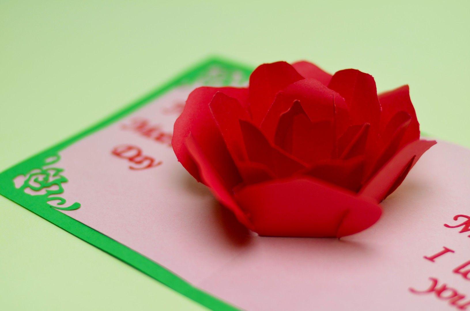 Rose Flower Pop Up Card Tutorial Pinterest Rose