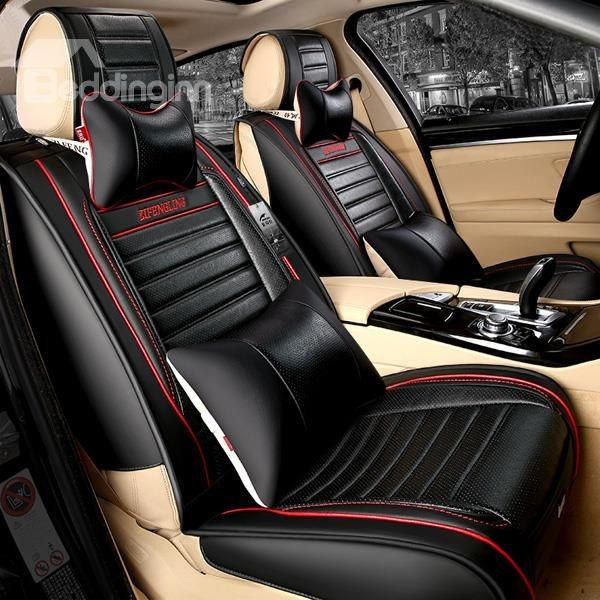 Popular Sport Style Pu Leatherette Material Contrast Color Universal Five Car Seat Cover Car Seats Girly Car Accessories Carseat Cover