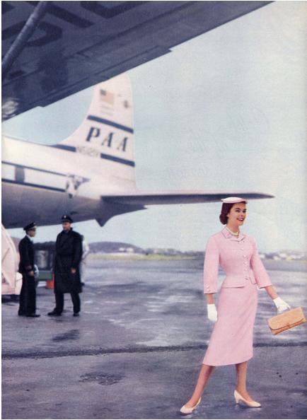 Air travel fashions, 1950s. Love it