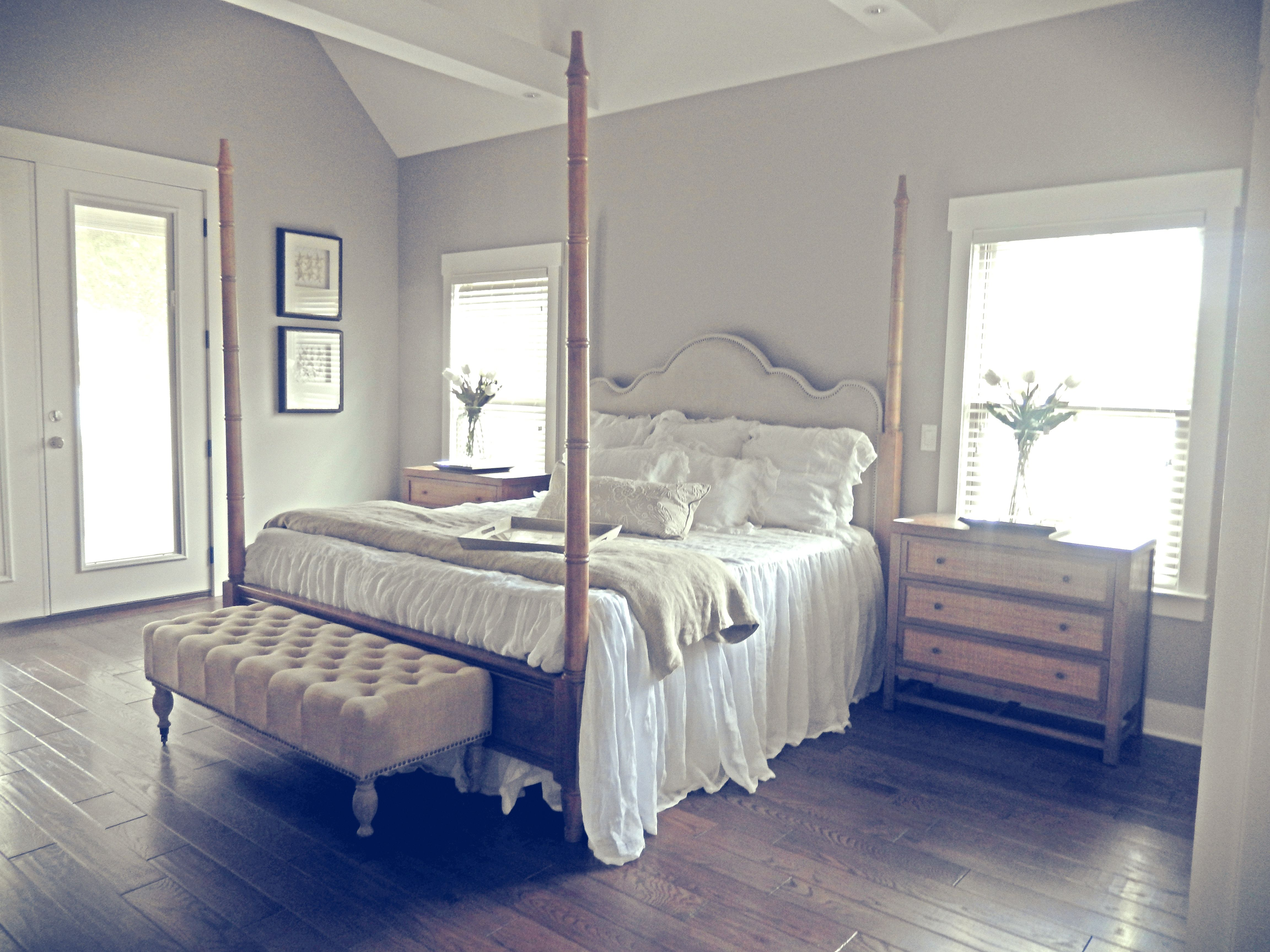 Best Master Bedroom Soft Gray Walls And Dark Wood Floors Gray 400 x 300