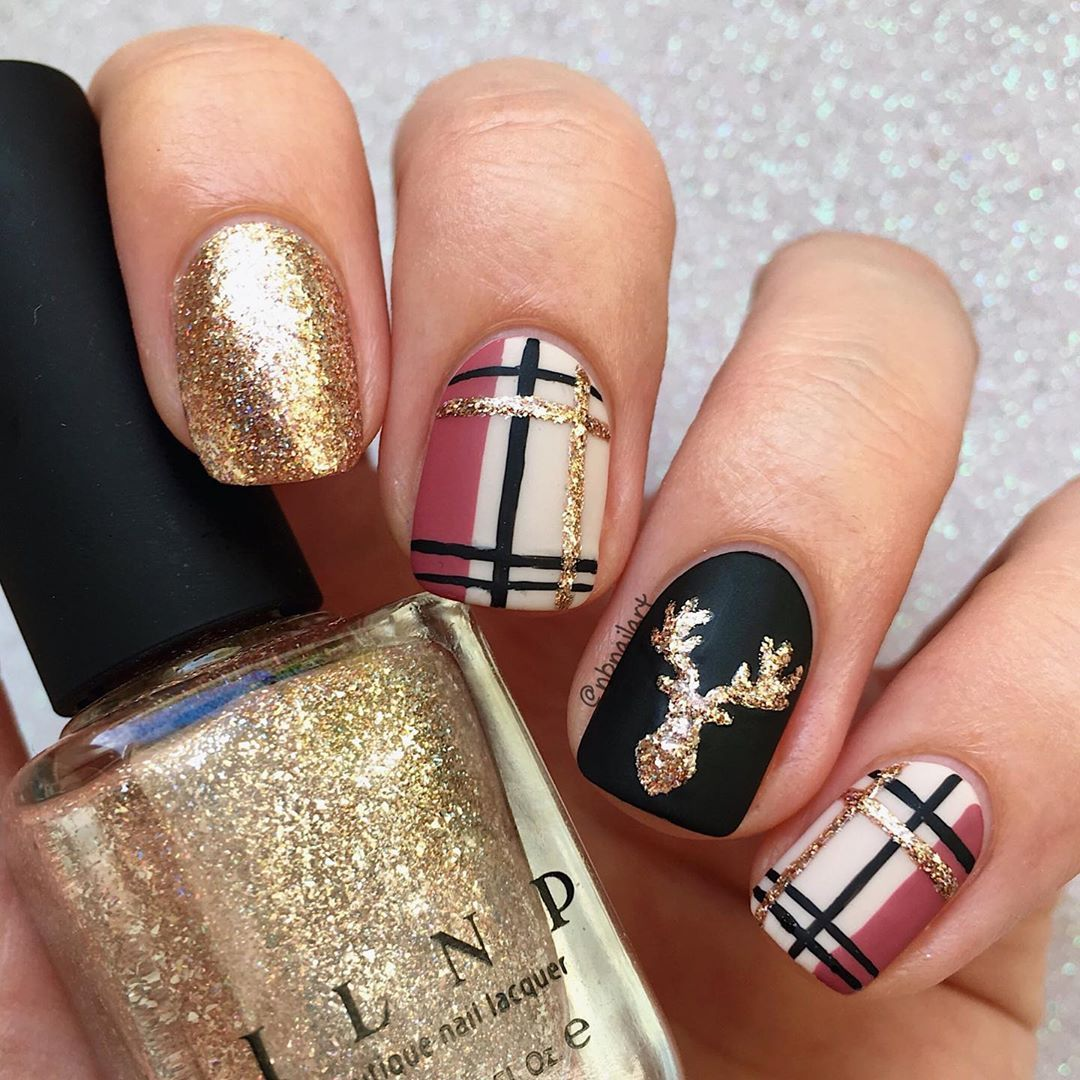 Hello Plaid For Glamnailschallengesept Here Is My Mani All Handpainted With Nail Polishes I P Plaid Nails Fall Nail Designs Christmas Nails