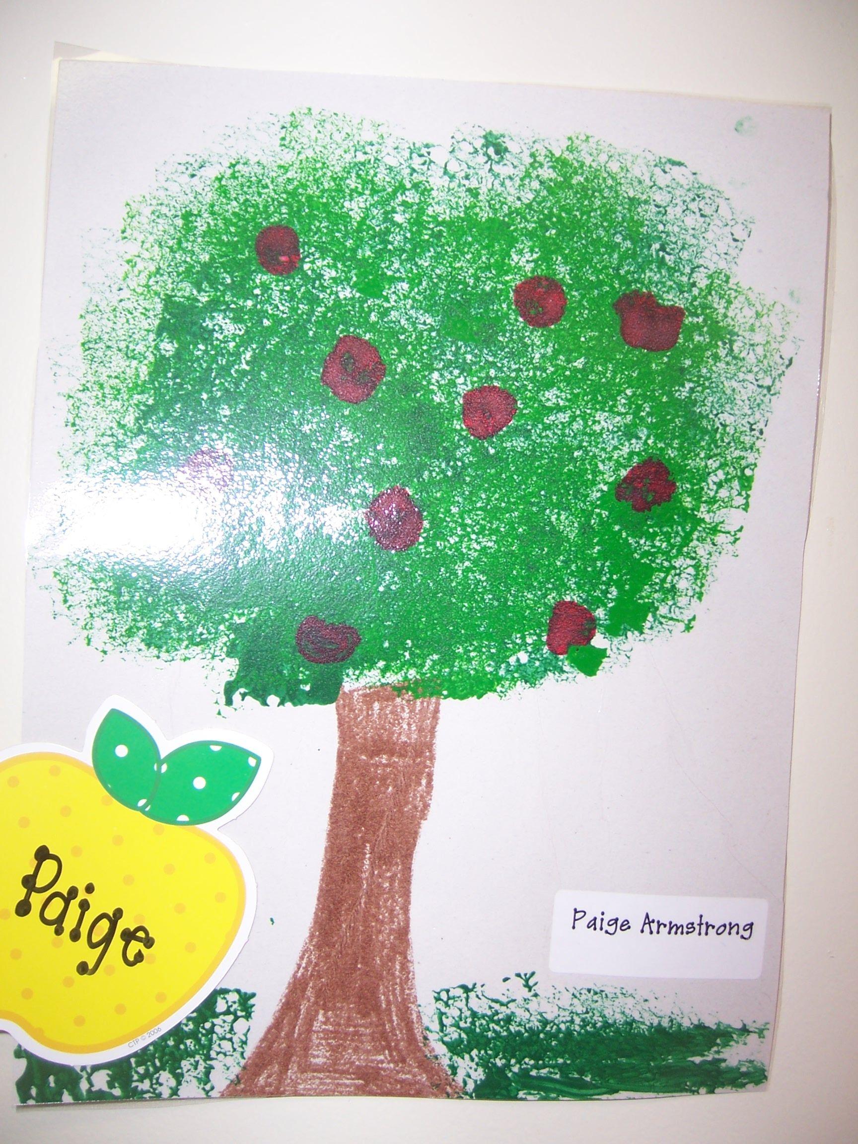 Sponge paint tree then add fingerprint apples.