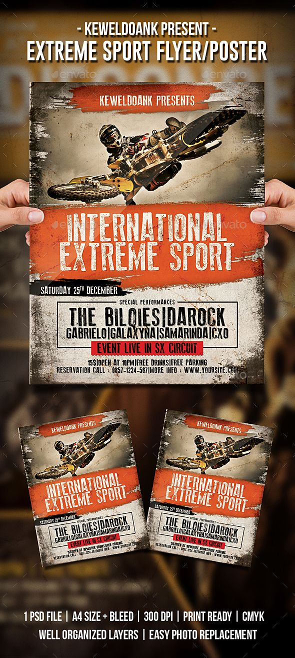 Extreme Sport Flyer Poster Flyer Template Template And Graphic