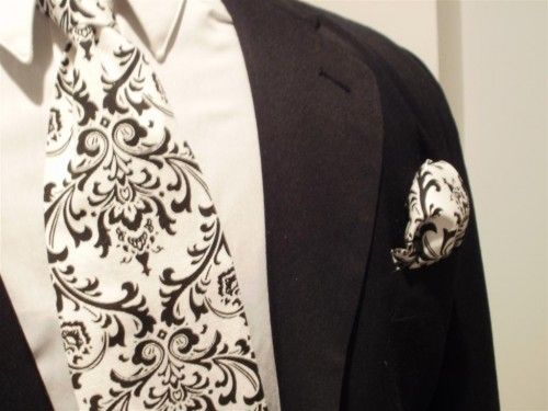 9c173b006112 Damask Tie and Hanky Set Men Madison Black white Necktie Square Set ...