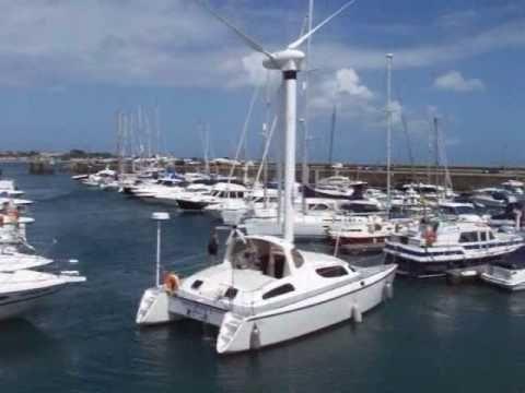 Unusual Catamaran With Wind Turbine Propulsion In Guernsey Catamaran Power Boats Boat