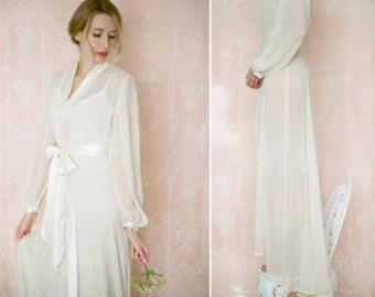 Trieste One Custom Poet Sleeve Chiffon Robe Long Bridal Wedding