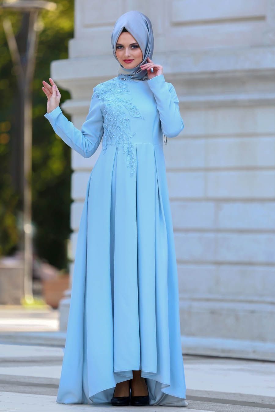 5c0c6b85a4c14 2018 Yeni Sezon Abiye Koleksiyonu - Neva Style - Pileli Bebek Mavisi  Tesettür Abiye Elbise 3520BM