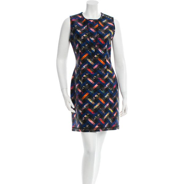 Pre-owned Cynthia Rowley Printed Neoprene Dress ($75) ❤ liked on Polyvore featuring dresses, black, print dress, multi colored dress, multi color dress, preowned dresses and sleeveless dress
