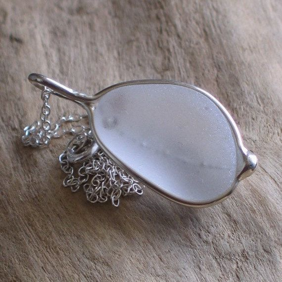 Natural Sea Glass Sterling Silver Pendant by TidelineDesigns