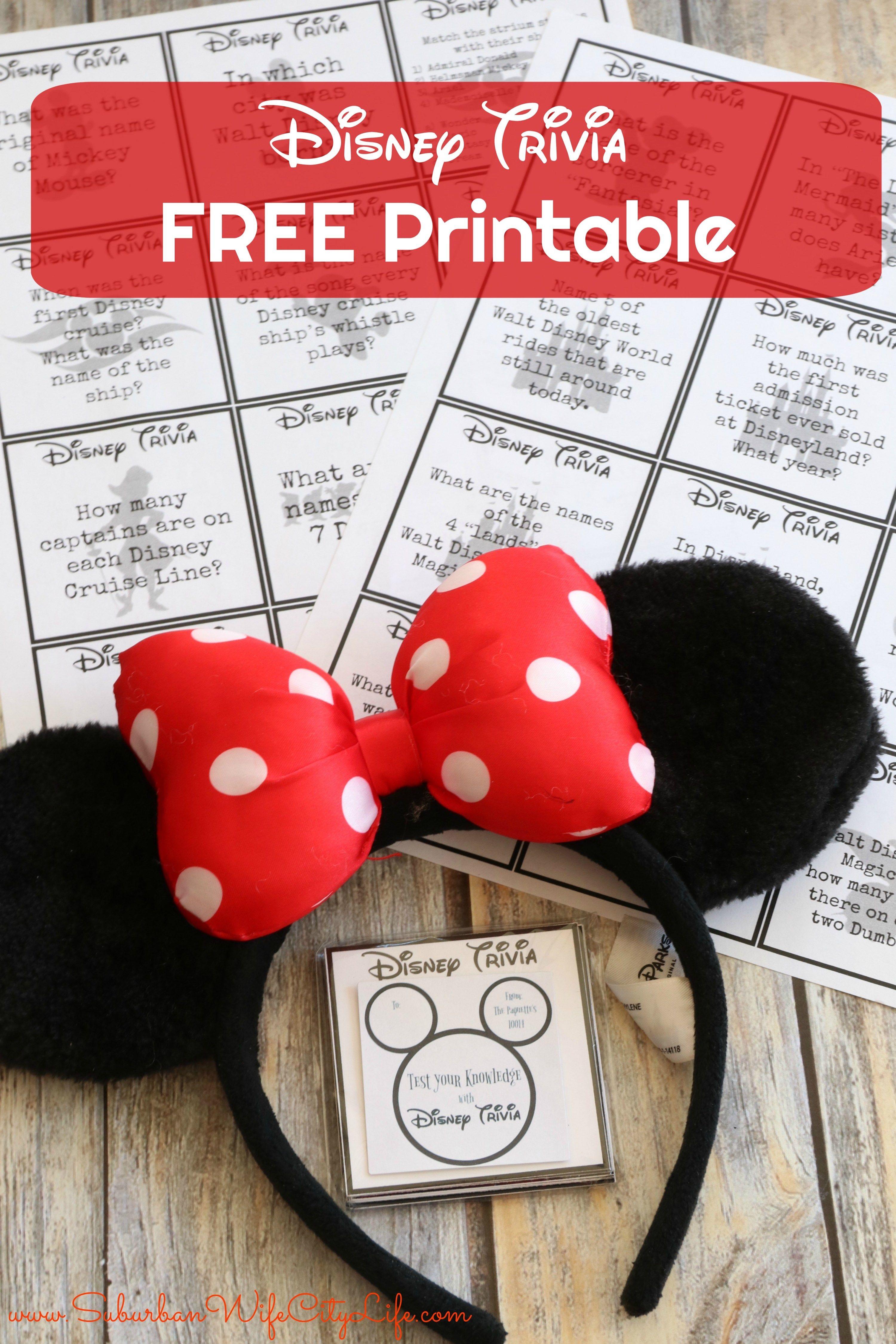 Disney Trivia Free Printable Disney facts, Disney