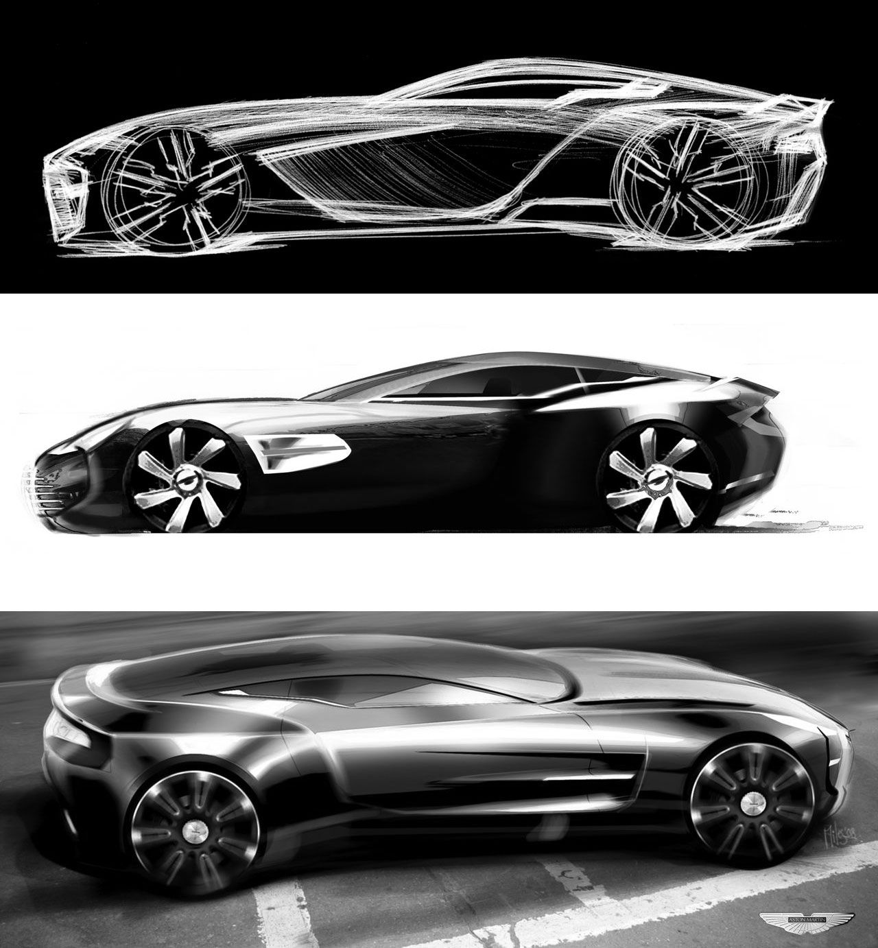 Daily Sketch: Aston Martin One-77 official sketches featured design sketch gallery: