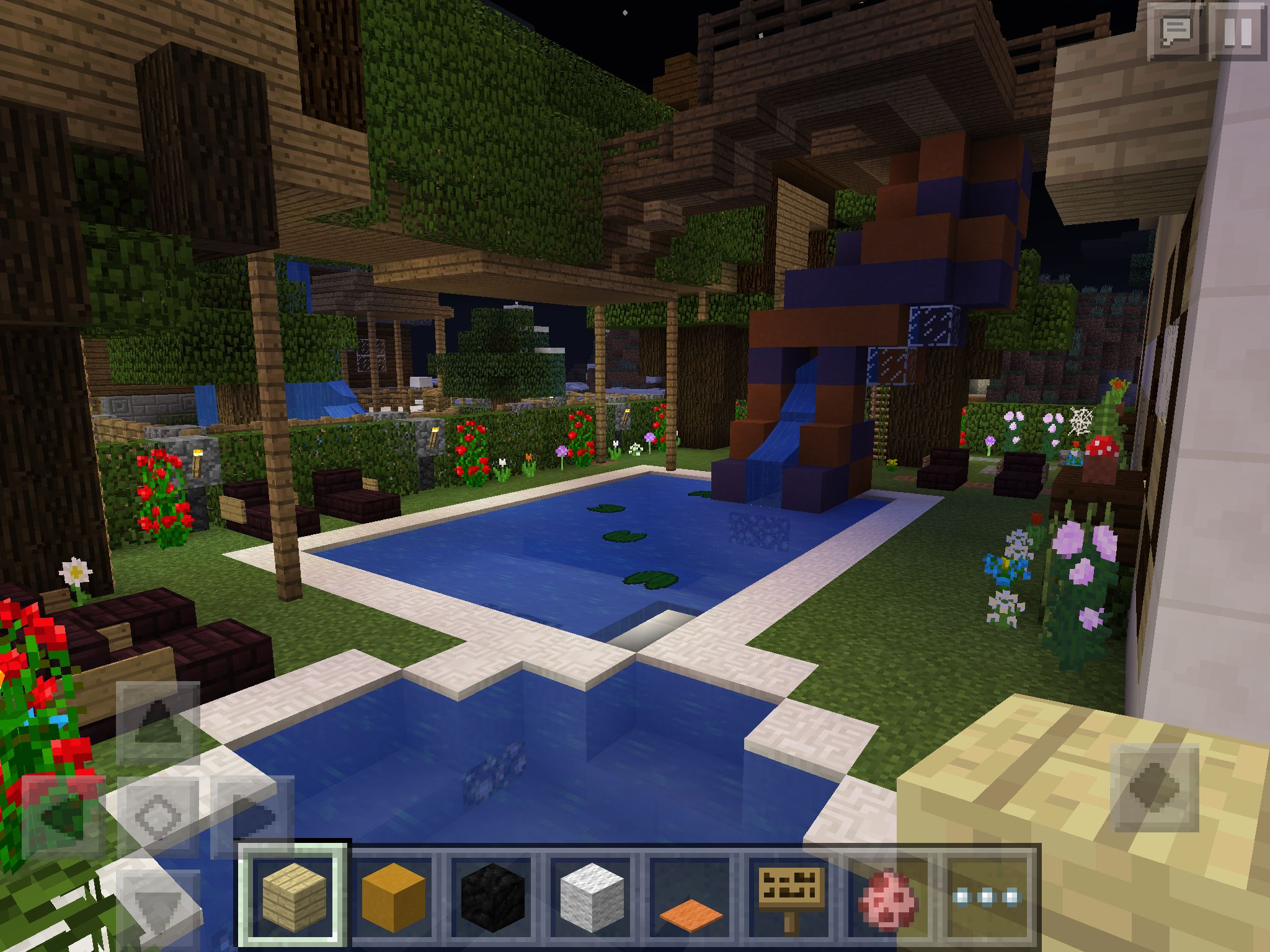 Treehouse Fortas with water slide in my backyard ... on Backyard Ideas For Minecraft id=54307