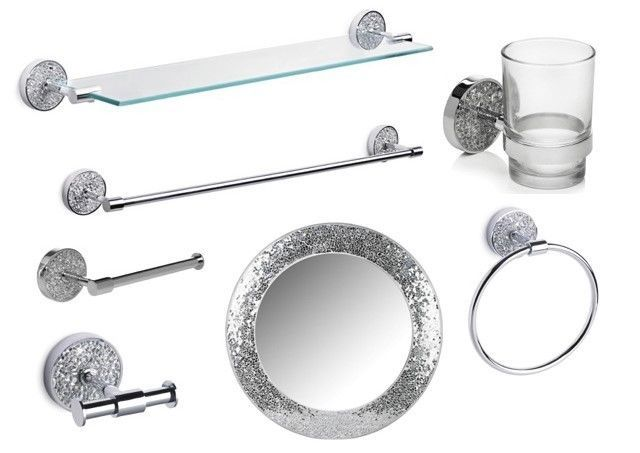 Silver Sparkle Bathroom Accessory Set. Silver Mosaic Mirror Accessory Set
