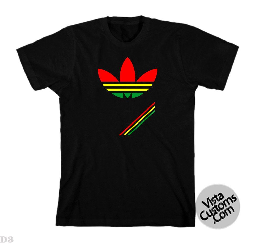 532d59c6 adidas originals rasta Black New Hot T-Shirt | jamaican | Shirts, T ...